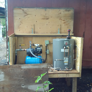 Complete Pumphouse with pump , water heater & water line