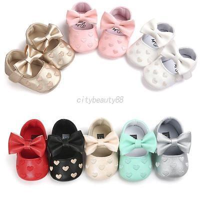 US Newborn Baby Girl Soft Crib Shoes Infants Anti-slip Sneaker Prewalker 0-18M