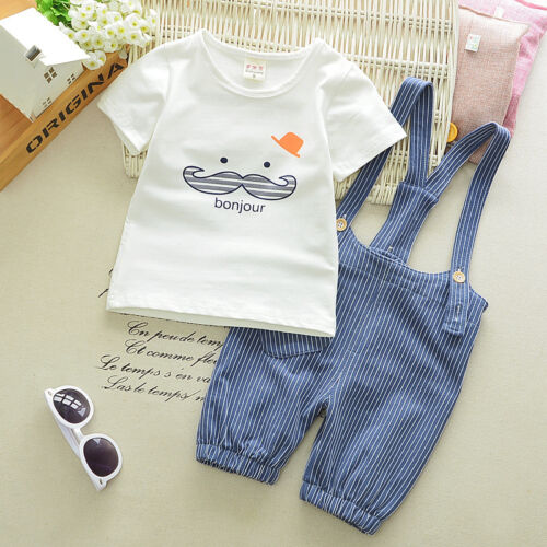 2pc baby boys clothes summer short sleeve Tee+bib pants kids boys outfits cool 1
