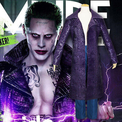 Jared Leto Joker Coat Jacket Pants Outfit Cosplay Costume Suicide Squad Trench - Jared Leto Costume
