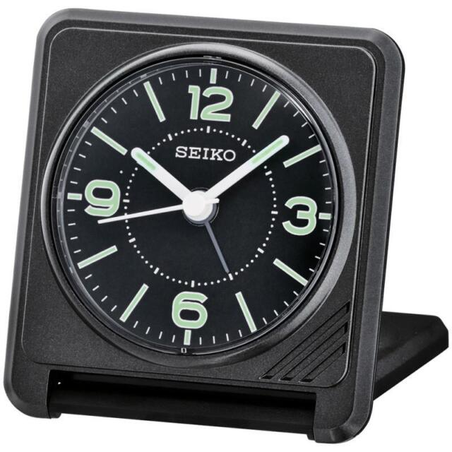 Seiko QHT015J Durable Best Quality Sweep Bedside Travel Alarm Clock - Black