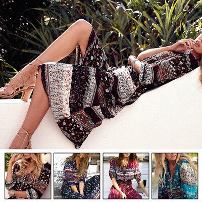 Plus Size 5XL Dress V-Neck Summer Beach Long Short Sleeve Bohemian Hippie Party (Plus Size Hippie Dress)