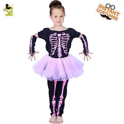 Girls Pretty Skeleton Ballet Tutu Dress Costume for Kids Halloween Party Show (Ballet Halloween Costumes For Kids)