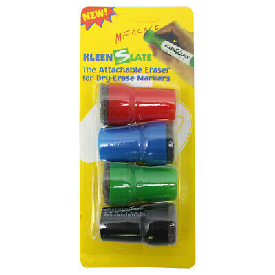 Large Barrel Attachable Eraser Caps for Dry Erase Markers, Pack of 4 Large Dry Erase Markers