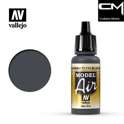 Vallejo Model Air 71.115 Blue Grey RAL7016 17ml Acrylic Airbrush Ready Paint