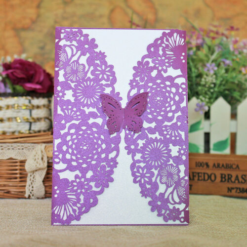 Wedding Birthday Mother/'s Day Purple Laser Cut Card with Butterflies