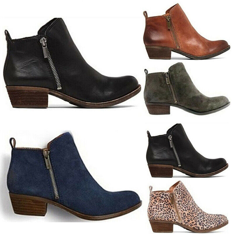 Women Low Block Heels Ankle Boots Zip Side Booties Casual Le