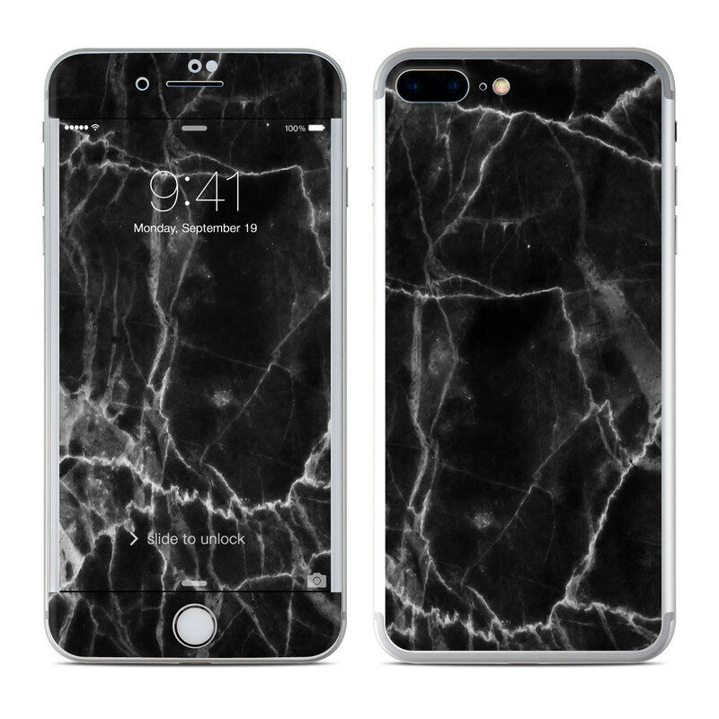 iPhone 7 Plus Skin - Black Marble - Sticker Decal