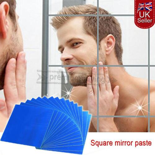 Home Decoration - Mirror Tiles Self Adhesive Back Square Bathroom Wall Stickers Mosaic 9/16 PACK