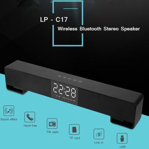Stereo Sound Bar Alarm Clock Wireless Bluetooth Speaker Home