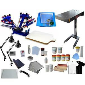 4 Color 1 Station Screen Printing Kit Include Flash Dryer & Simple Exposure Unit 006981