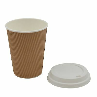 Disposable Coffee Tea Hot Drinks Ripple Paper Brown Cup & White Lid - 12oz -x100