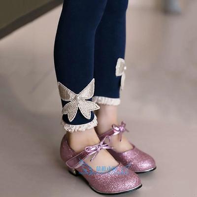 Hot Sale Kids Baby Girls Clothing Bowknot Warm Velvet Leggings Casual Pants (Hot Girls Leggings)