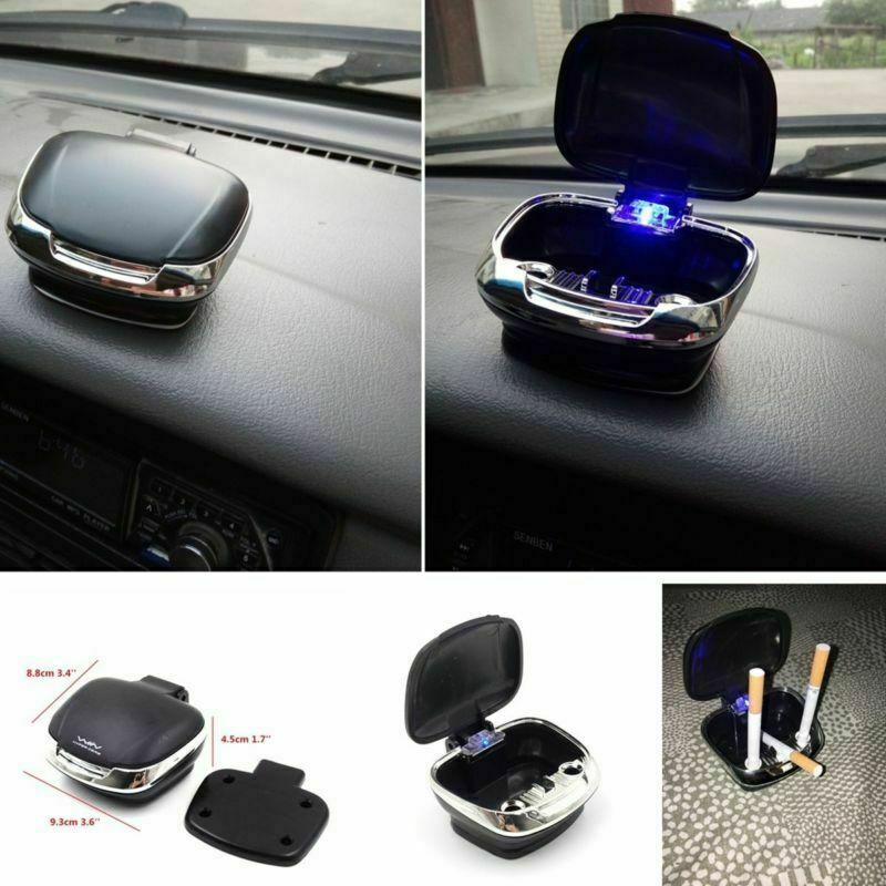 Universal Truck Car SUV Dashboard Holder Cigarette Ashtray Blue LED Black Case