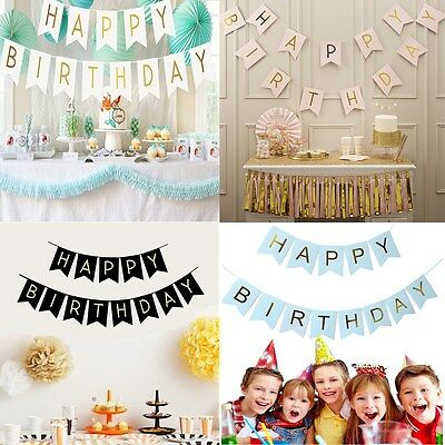 Glitter Happy Birthday Bunting Banner Gold Letters Hanging Garlands Party Decor - Gold Garland