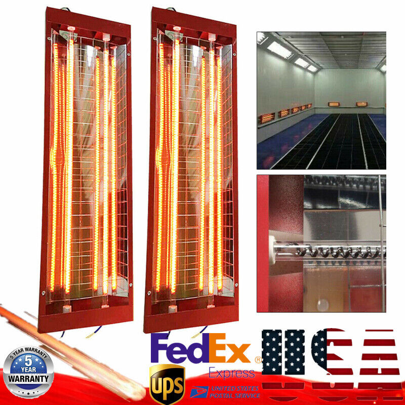 2PC Auto Paint Booth Infrared Paint Curing Lamp Spray Baking Heater Dryer 2KW