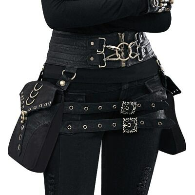 Vintage Steampunk PU Leather Rock Gothic Cosplay Battleground Waist Bags Leg Bag