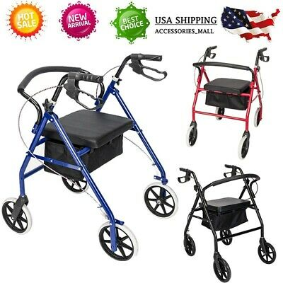 - Drive Medical Casters Rolling Folding Walker Adult 4 Wheels with Padded Seat