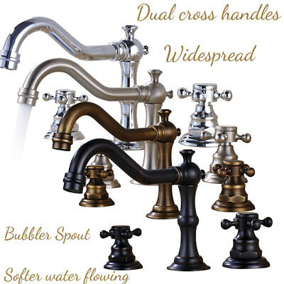 8-inch Widespread Deck Mount Bathroom Faucet Basin Mixer Tap Dual Cross Handles (Cross Handles Deck)