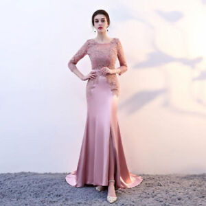 evening dresses prom party ,formal lace-up Side Split 3/4 sleeve