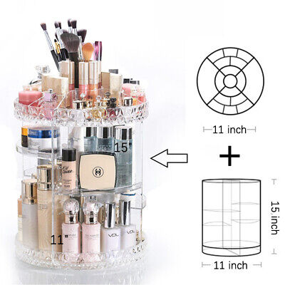 360 Rotating Makeup Organizer Acrylic Adjustable Cosmetic Storage Tray Box Case