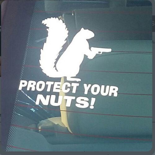 PROTECT YOUR NUTS SQUIRREL GUN Vinyl Decal Sticker Car Window Wall Bumper FUNNY