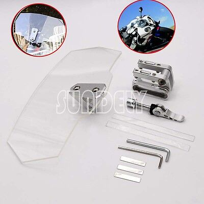 Motorcycle Clip-on Clear Windshield WindScreen Extension Deflector Universal