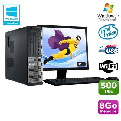 Lot PC DELL 3010 DT Intel G2020 DVD 8Go Disque 500Go HDMI Wifi Win 7 + Ecran 19