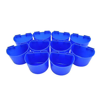 10pcs Cup Hanging Water Feed Cage Cups Poultry Gamefowl for Rabbit Chicken Blue