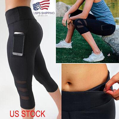 Capri Women39s Sports Pants Gym Yoga Mesh Fitness Leotards Athletic Leggings S762