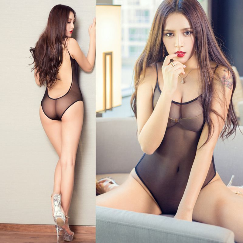 cf55f33e8346d Details about One-Piece Women s Thong High Lingerie Cut Bodysuit Swimwear  Leotard Sheer Sexy