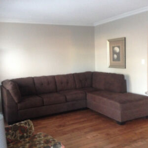 Sectional brown couch