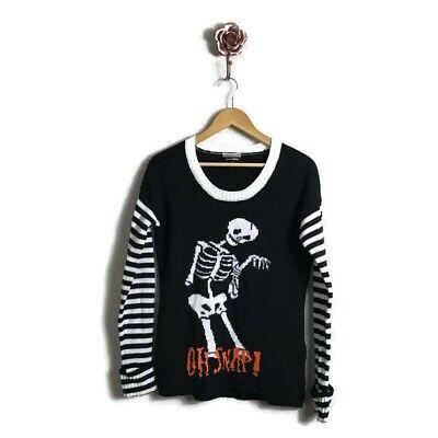 Halloween Skeleton Sweater (Allison Brittney Medium Halloween Striped Skeleton Graphic)