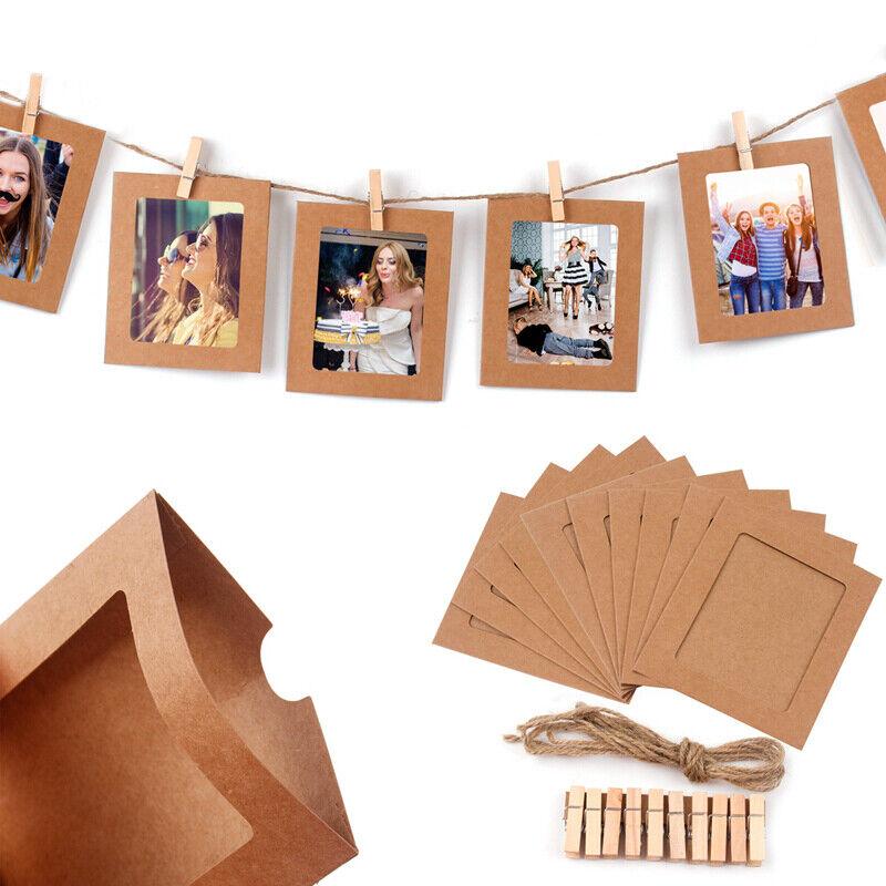 10 Stk Papier Foto Set Wand hängender Bilderrahmen Album Seil ...