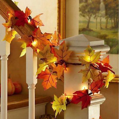 Party Hotel Fall Leaves Light String Set Autumn Leaf Garland Harvest Decor Lite