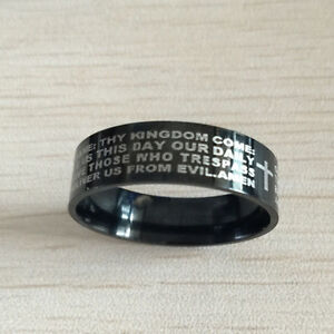 """Lord's Prayer Band"" with Cross Black Steel IP, Unisex!! Kitchener / Waterloo Kitchener Area image 2"