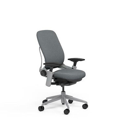 New Steelcase Adjustable Leap Desk Chair Buzz2 Grey Fabric Seat - Platinum Frame