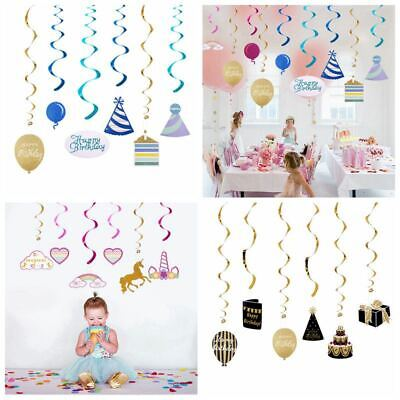 Ceiling Hanging Decorations (Happy Birthday Swirl Ceiling Hanging Supplies For Childern Birthday Party)