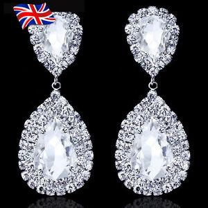 UK Big Luxury Crystal Silver Diamanté Gemstone Large Teardrop Earrings Bridal