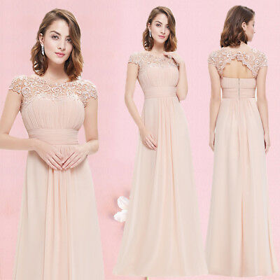 US Long Chiffon Evening Formal Lace Cocktail Gowns Bridesmaid Maxi Dresses 09993 Chiffon Formal Evening Dress