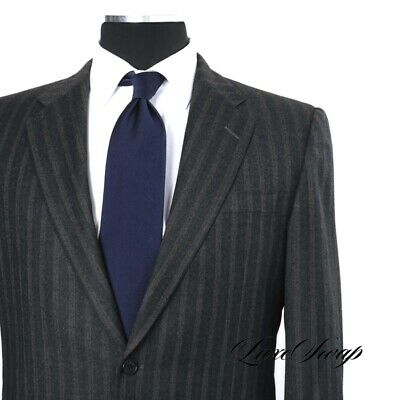 Hickey Freeman Made in USA 1818 Madison Charcoal Flannel Triple Stripe Suit 40 R