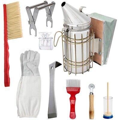 Beekeeping Honey Tools Starter Kit Set Of 9 Bee Hive Smoker Equipment Supp A9k7