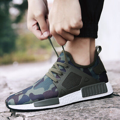 New Mens Trendy Camo Net Cloth Breathable Shoes Low Cut Running Casual Sneakers