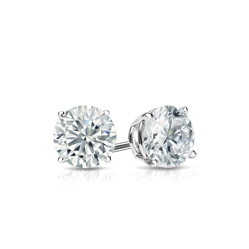 0.50 Ct Diamond Stud Earrings D/VVS1 Women's Solitaire Earrings 14k White Gold