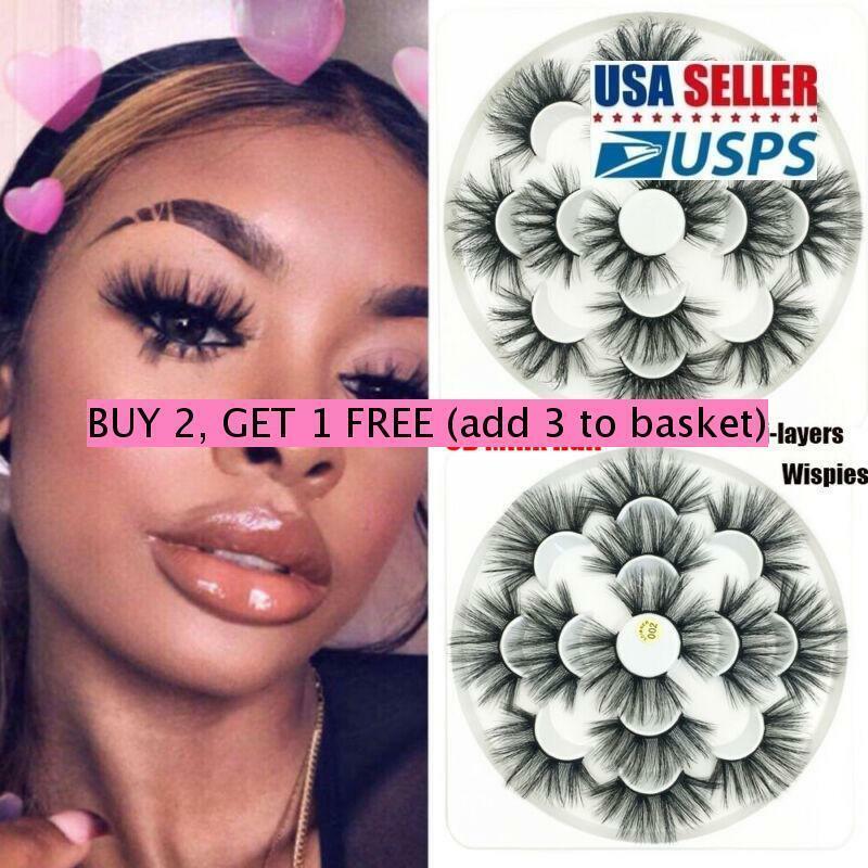 25mm Lash SKONHED 7Pairs8D Mink Hair False Eyelashes Dramati