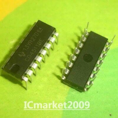 10 Pcs Cd4511be Dip-16 Cd4511 Bcd To 7-segment Latchdecoderdriver New