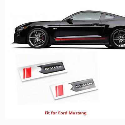 2X Metal Roush Mustang Square R Emblem body Fender Badge Sticker 05-17 Black/RED