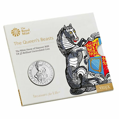 2020 United Kingdom £5 BU Coin Queen's Beasts: The White Horse of Hanover