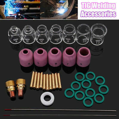38pcs Tig Welding Torch Stubby Gas Lens 4-12 Pyrex Glass Cup Kit For