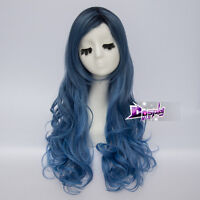 80cm Lolita Long Mixed Blue Women Curly Heat Resistant Cosplay Wig + Free Cap - unbranded - ebay.co.uk